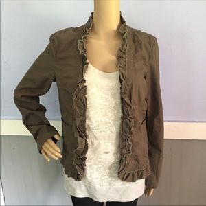 LOFT brown taupe ruffled zip up jacket size small